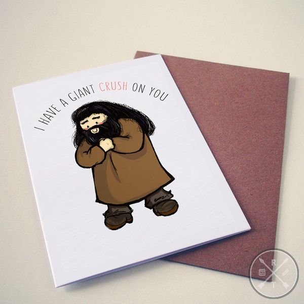 Harry Potter Themed Valentines Day Card hagrid