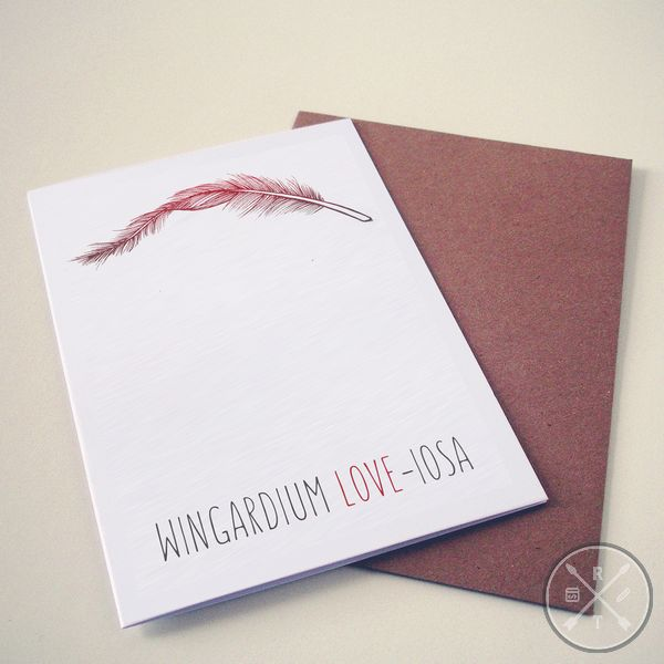 Harry Potter Themed Valentines Day Card wingardium love-iosa